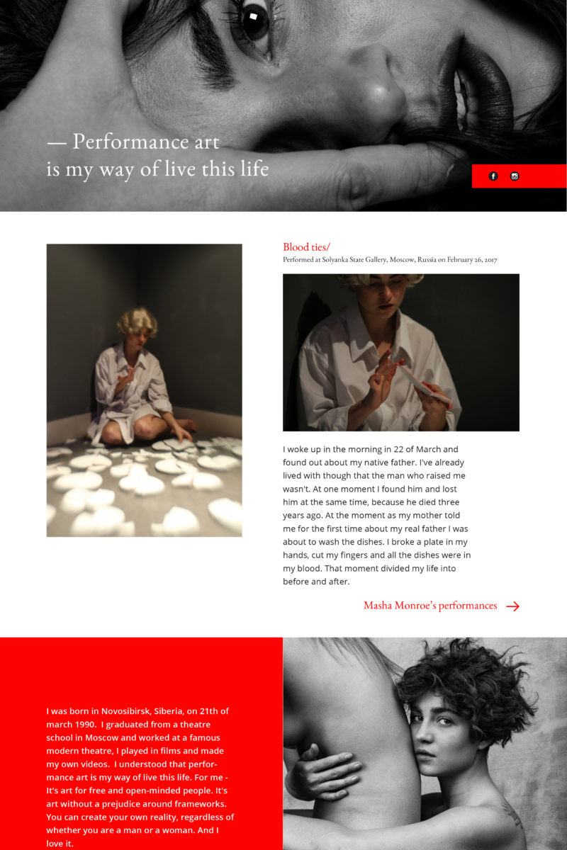 Personal website for an actress Alina Nasibullina