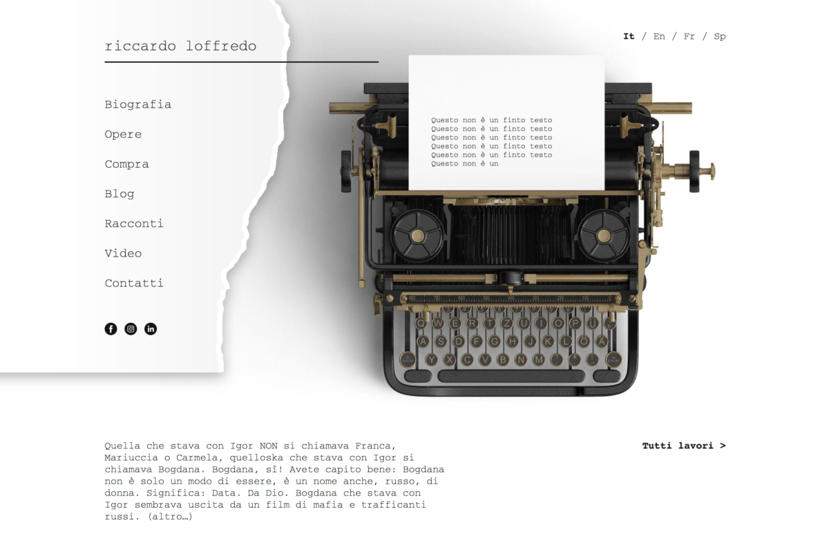 Personal website for copywriter and artist Riccardo Loffredo
